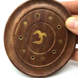 Incense Burner - Wooden Round Plate with Om - 4 inches