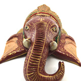 Colorful Wood Handcrafted Hand-painted Elephant Head Wall Hanging Decorative