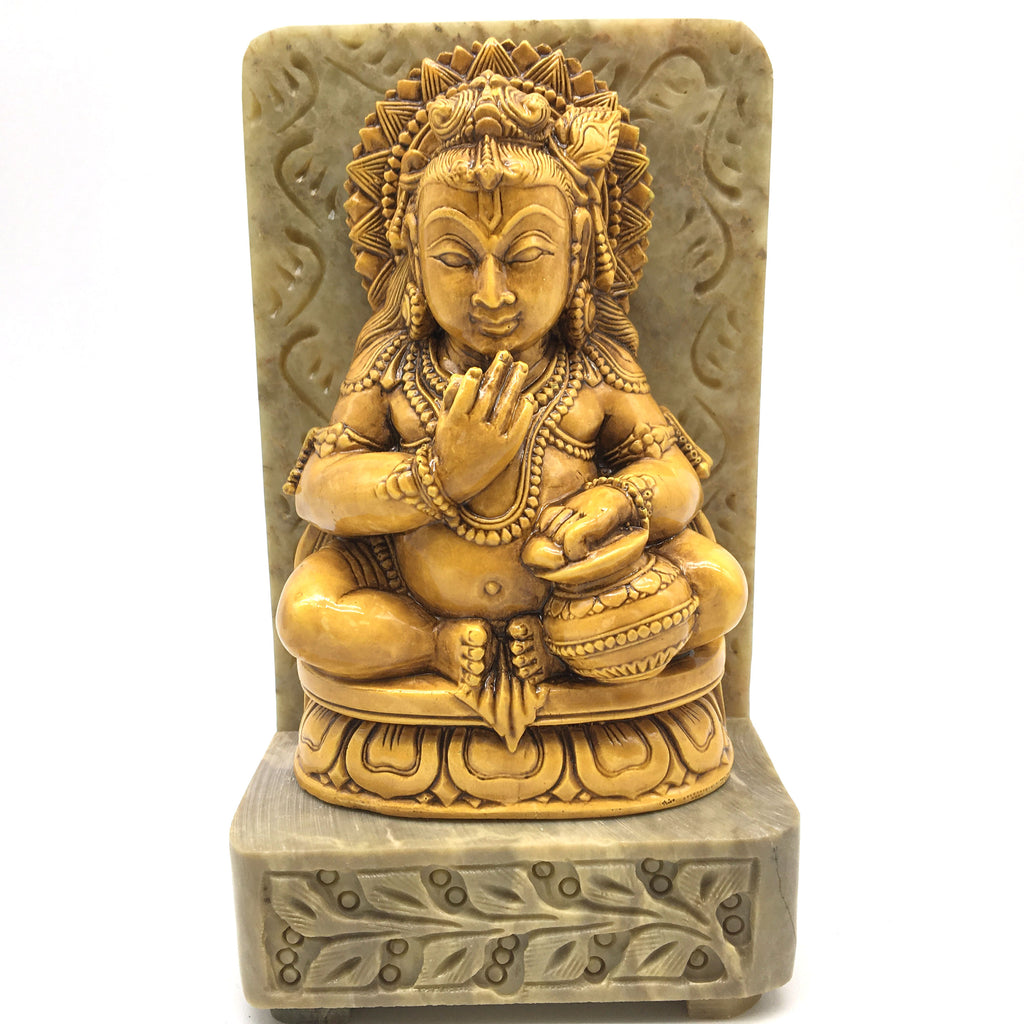 India God Krishna The Butter Thief on Resin and Soapstone Base Statue Handmade