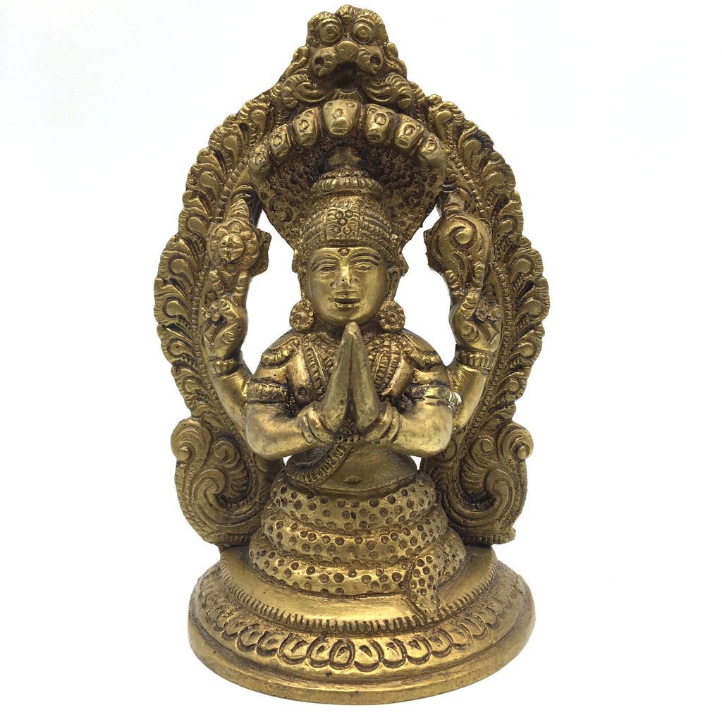 Brass Patanjali India Father of Yoga Sutras Incarnation of Shesa Sculpture Statu