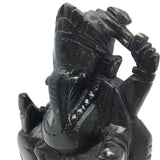 Ganesh Ganapati Hand-carved in Solid Stone Hand-painted Black Sculpture Statue
