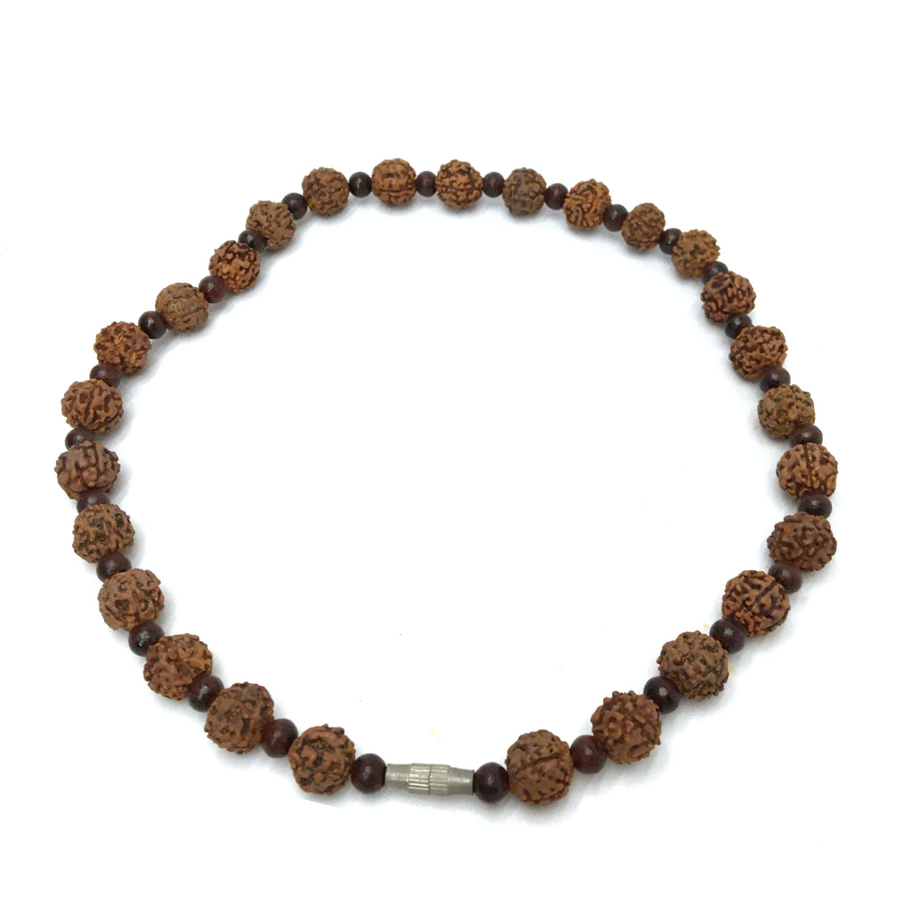 Handcrafted India Rudraksha and Rosewood Bead Decorative Auspicious Necklace