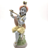 Krishna Lladró Porcelain Figurine Lord Krishna With Garland of Handmade Flowers