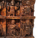 Hand-carved Solid Wood Wall Hanging Panel Plaque Carved Krishna Incarnations