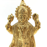 Gold-plated Brass India God Lord Vishnu Handcrafted Statue Sculpture 5.75""
