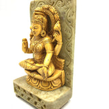 India Goddess of Prosperity Mata Lakshmi on Resin and Soapstone Base Statue