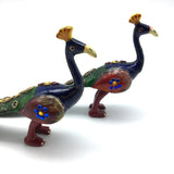 Set of 2 Hand-crafted Enamel Coated Metal Peacock Figurines With Colorful Stones
