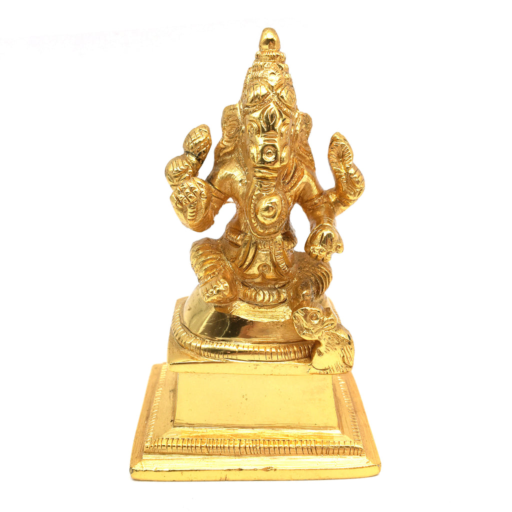 Gold-Plated Brass Ganesh Ganapati India Elephant God Statue Sculpture 3""
