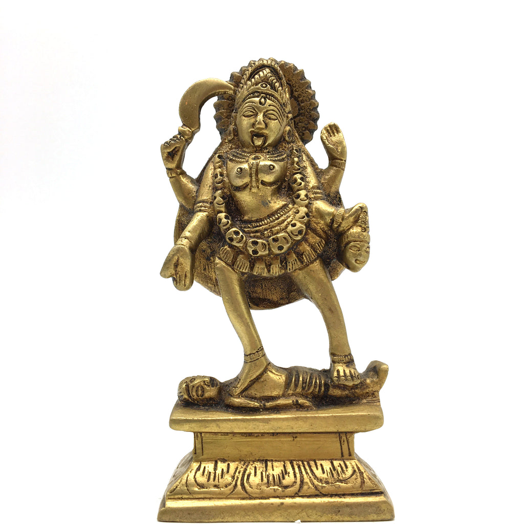 Hand-crafted Brass Kali Mata Shiva Hindu Goddess Divine Mother Statue Idol 5""