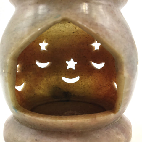 Soapstone Oil Burner Diffuser Candle Holder Moon & Stars Handcrafted Decorative
