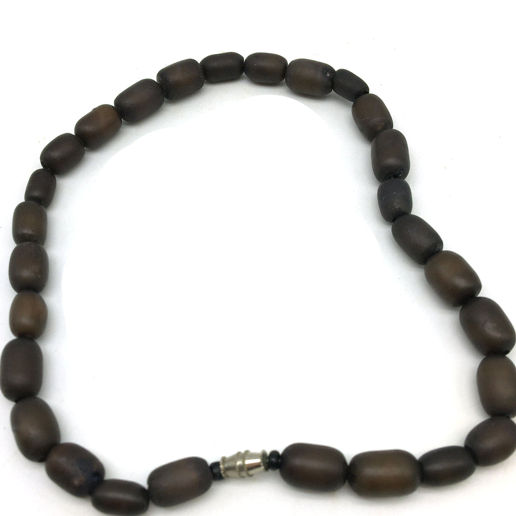 Handcrafted Elegant All Natural Dark Beads Decorative Necklace -Twist Clasp
