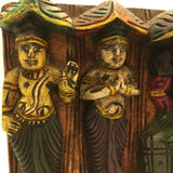 Hand-carved India Colorful Decorative Wood Wall Hanging Panel Plaque 5.6""
