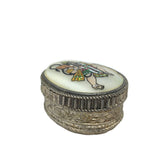 Handcrafted Decorative Silver Kumkum Box W/ Hanuman India God Hand-painted