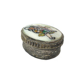 Silver Kumkum Box Handcrafted Decorative W/ Hanuman India God Hand-painted