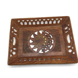 Vintage Rustic India Natural Wooden Decorative Handmade Brass Inlays Tray