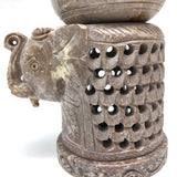 Decorative Hand-Carved Natural Soapstone Elephant Oil Burner Diffuser 4.25""