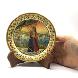 Handmade Collectible India Decorative Marble Plate with Wood Stand-Gold Trim