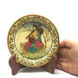 Hand-painted Collectible India Decorative Marble Plate with Wood Stand-Gold Trim