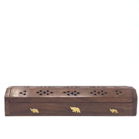 India Incense Burner Handcrafted Wooden Box with Storage - Elephants Design 12""