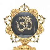 Decorative Gold-Plated Stone Studded India Religious Aum Om Symbol Statue Figure