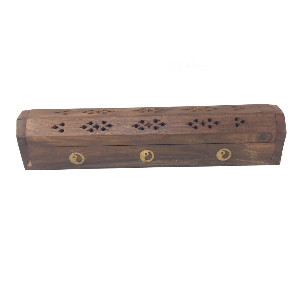 Handcrafted Incense Burner - Wooden Box With Storage - Decorative Brass Inlays