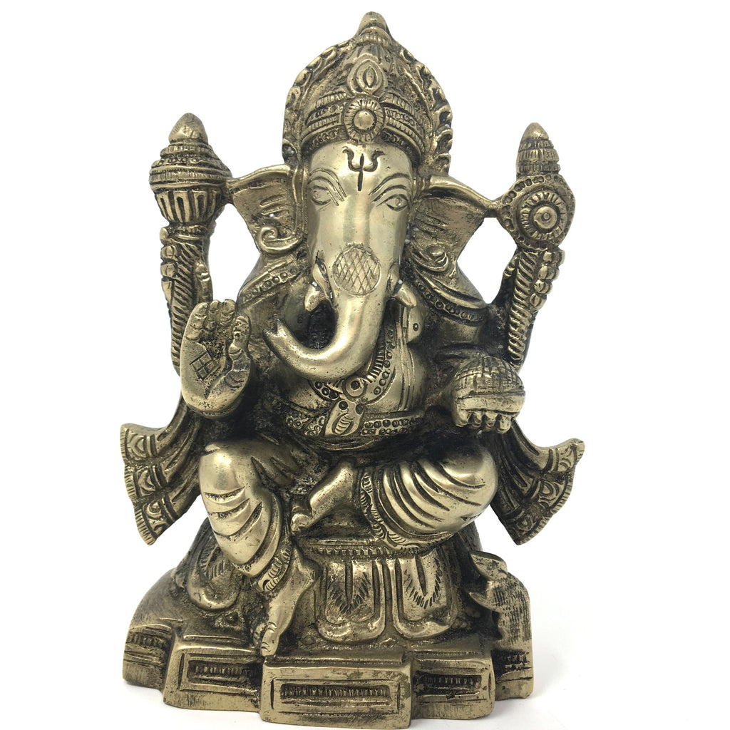 Silver-Color Ganesh Ganapati Elephant India Obstacle Remover God Statue 6.25""