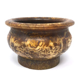 Soapstone Incense Smudging Jade Bowl Pot Natural Henna Colors -Oriental Style
