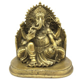 Handmade Brass Ganapati Ganesh India Elephant God Obstacle Remover Statue