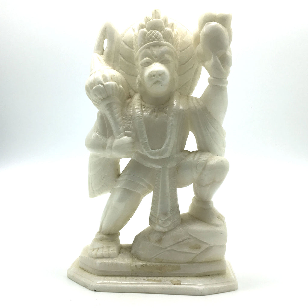 "Handcrafted Pure White Marble Lord Hanuman Idol Murti Statue 8.2"" - Monkey God"
