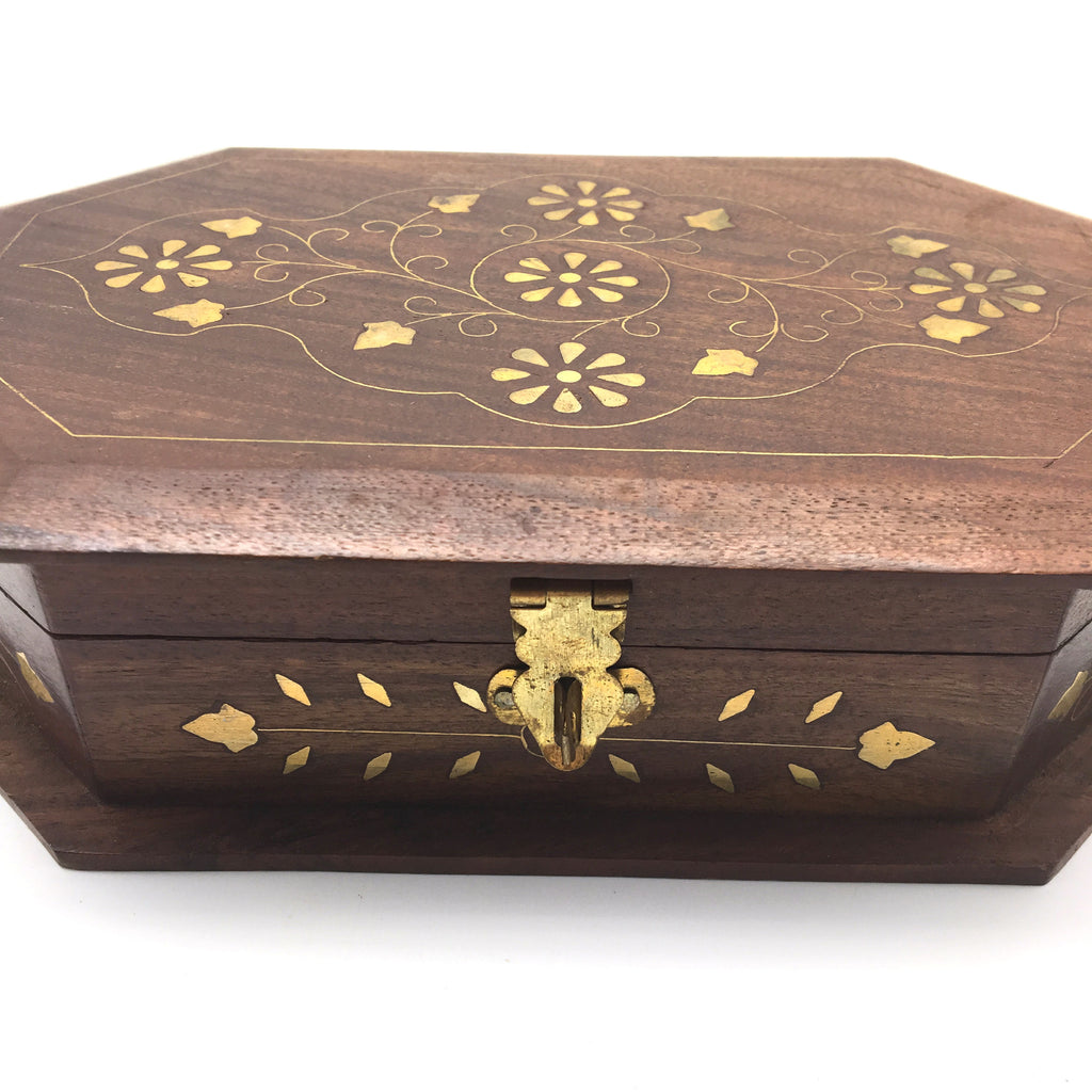 Hand-crafted Decorative Wooden Jewelry Trinket Box Storage Organizer Brass Inlay