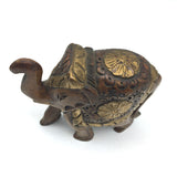 Wood Elephant Statue Trunk Up Handcrafted Decorative -Fine Detail Golden 4.25""