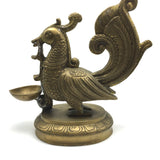Peacock Brass Lamp Deepak Temple Home Decorative Puja Peacock Lamp 11.5""