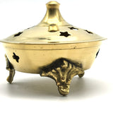 "Decorative India Brass Incense Charcoal Resin Burner Holder Jali 2.5"" - Stars"