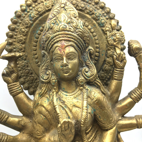 Brass India Goddess Mother Durga Devi Mata on Lion Murthi Statue Handmade 15""