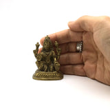 Vintage Mini Brass Mata Lakshmi Murti India Statue India Goddess Of Wealth 2.3""