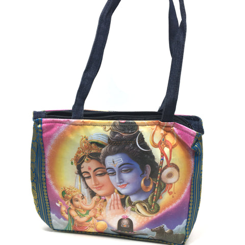 Shiva Parvati Ganesh Shoulder Tote Messenger Bag Indian 2-sided Digital Print