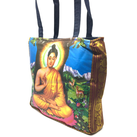 Buddha Shoulder Tote Messenger Bag Indian 2-sided Digital Print Bag Denim Straps