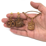 India God Ganesha Ganapati Pendant Necklace and Om Aum Symbol Keychain Set
