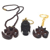 India Wooden Om Aum Symbol Pendant Necklace and Buddha Head Keychain Set