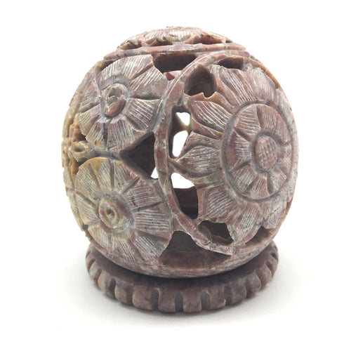 Cone Incense Burner and Candle Holder -Soapstone Carved T-Lite Ball 3.5""