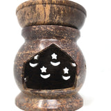 "Soapstone Oil Burner Oil Diffuser Moon-Stars Handcrafted Decorative 4.25"" Tall"
