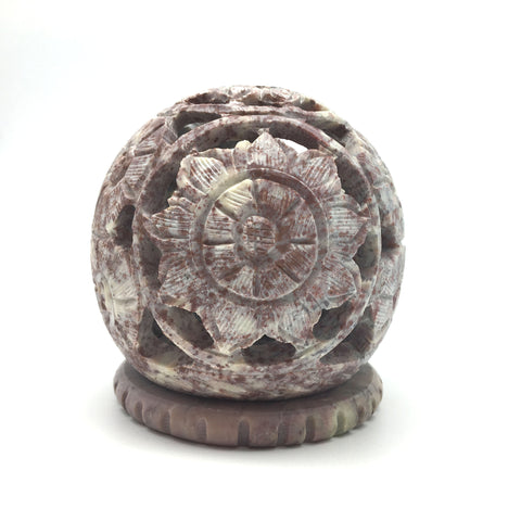 Handcrafted Cone Incense Burner and Candle Holder -Soapstone Carved T-Lite Ball