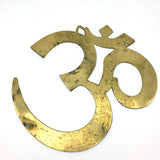 Set Brass Stick Incense Burner and Om Symbol Wall Hanging - Handmade India