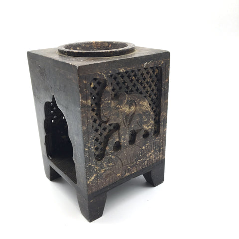 Handcrafted Soapstone Oil Burner Diffuser Tea Light Candle Holder – Elephant