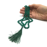 Malachite Prayer Beads Chanting Mala Beautiful 108 Knotted Prayer Beads 17.75""