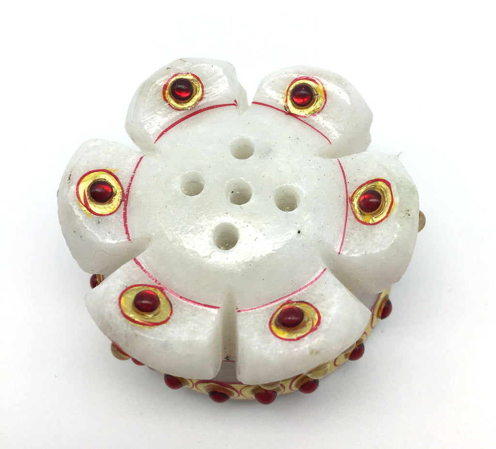 Handcrafted Marble Flower Shaped Decorative Incense Burner for Stick Incense