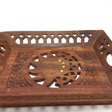 Vintage Rustic India All Natural Wooden Decorative Handmade Sheesham Platter Tra
