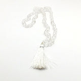 "Prayer Mala Beads Chanting Japa- Clear Crystal Quartz - 108 Prayer Beads 16.5"" L"