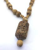 Handcrafted Holy Tulasi Tulsi Necklace -India God Krishna Lotus Feet Carved Pend