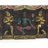 Hand-carved India Colorful Decorative All Wood Wall Hanging Panel Plaque 5.75""